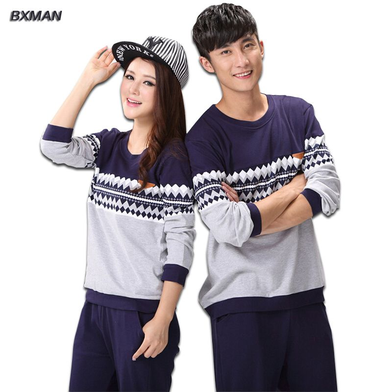 BXMAN Brand Men s Pajamas Hombre Casual Pajamas Man Cotton Geometric O-Neck  Full Sleeve Men e6e09ca7f