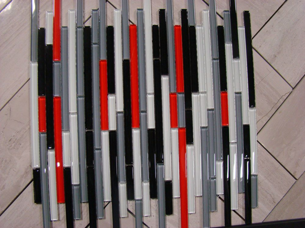 Best Autostrata Mosaic Glass Tile Red Grey Black White Tiles 400 x 300