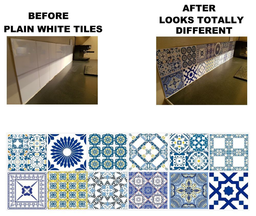 Mosaic Stickers Transfers for 200mm x 200mm 8 x 8 Inch Kitchen Tiles ...