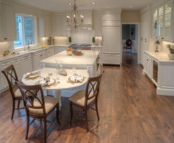30 Kitchen Islands With Tables A Simple But Very Clever Combo Kitchen Island With Seating Kitchen Island Table Combination Kitchen Island Table