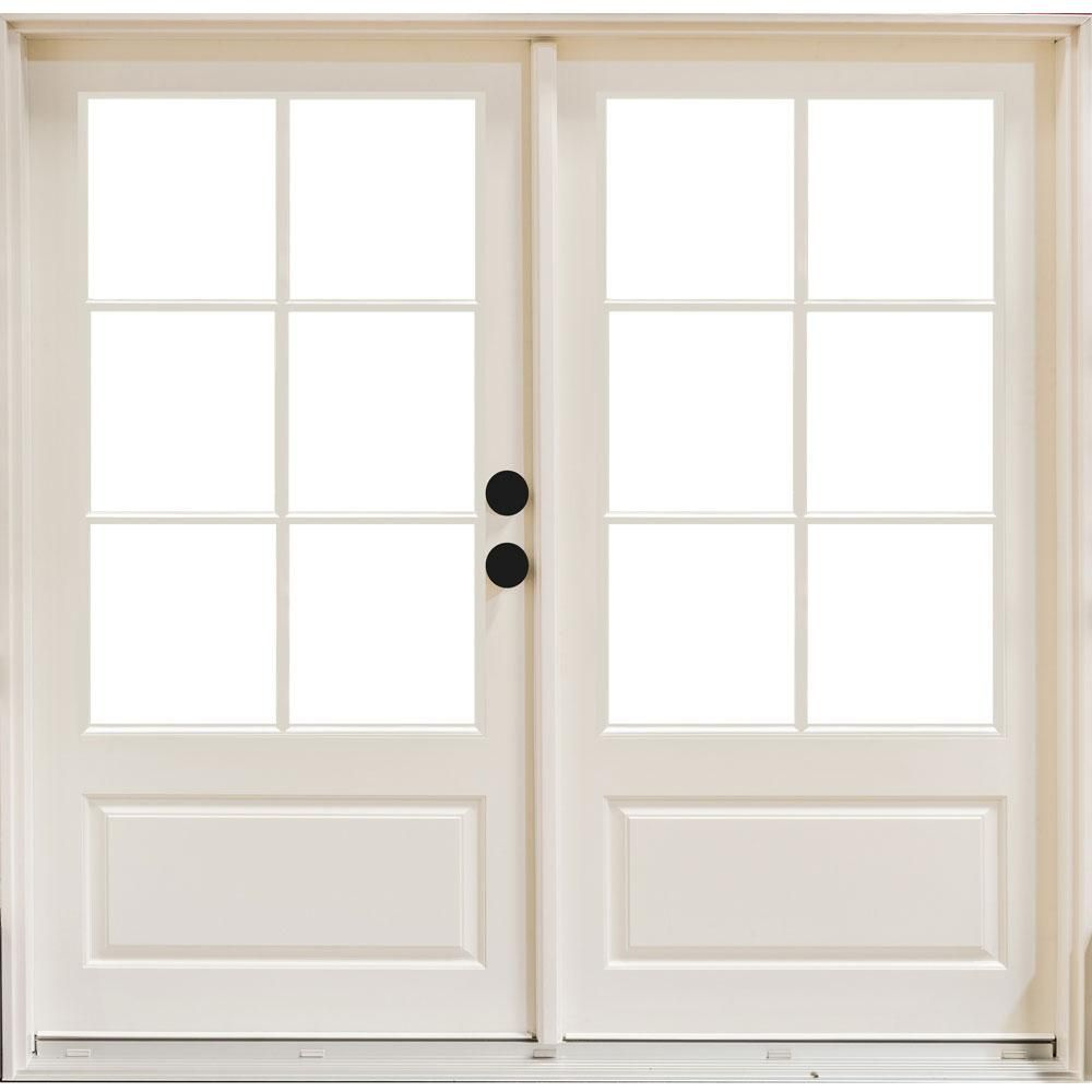 Mp Doors 72 In X 80 In Fiberglass Smooth White Left Hand Inswing Hinged 3 4 Lite Patio Door With 6 Lite Gbg Hn6068l3qw6 The Home Depot Fiberglass Patio Doors Patio Doors French Doors Interior