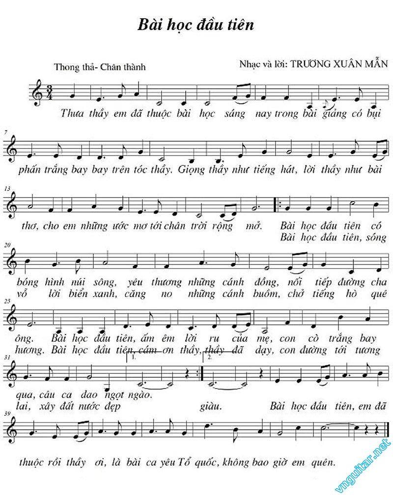 Sheet Nốt Nhạc Va Lời Bai Học đầu Tien Trương Xuan Mẫn Bai Hat Nốt Nhạc Cảm ơn Thầy Co