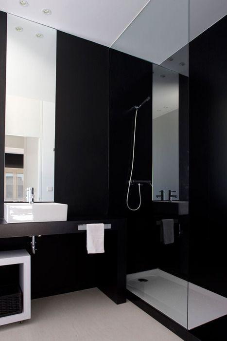 Black Bathroom my home Pinterest Black, Interiors and Bath