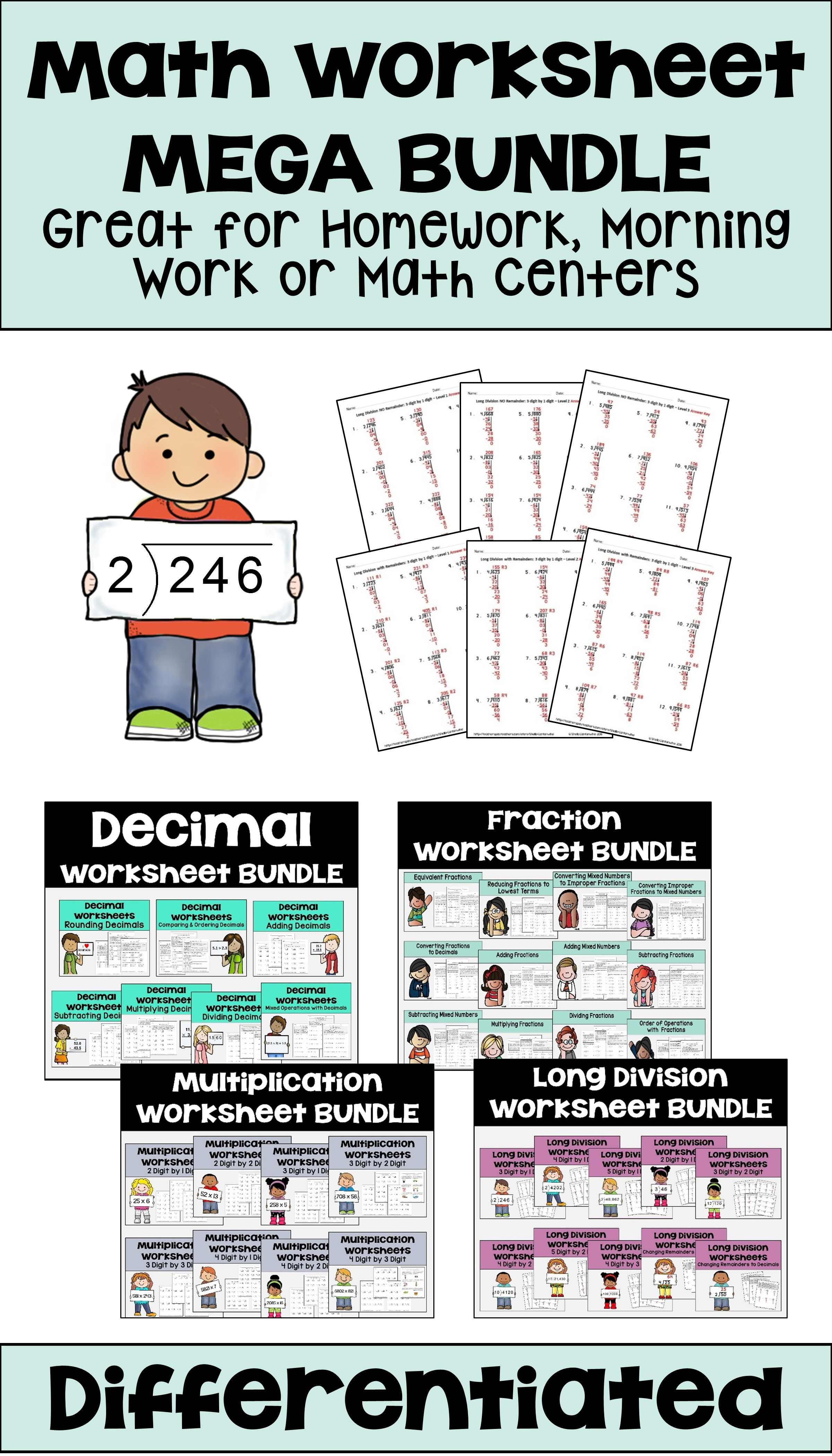 Math Worksheet Bundle For Homework Morning Work