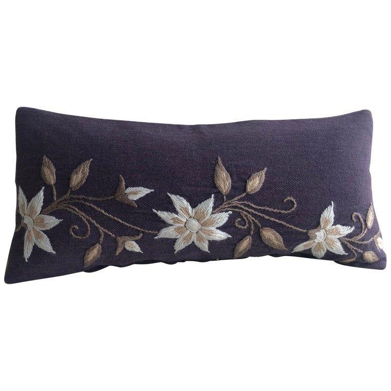 Antique Textiles Galleries - Vintage Woven Purple Bolster Decorative Pillow Argentine Bohemian Wool