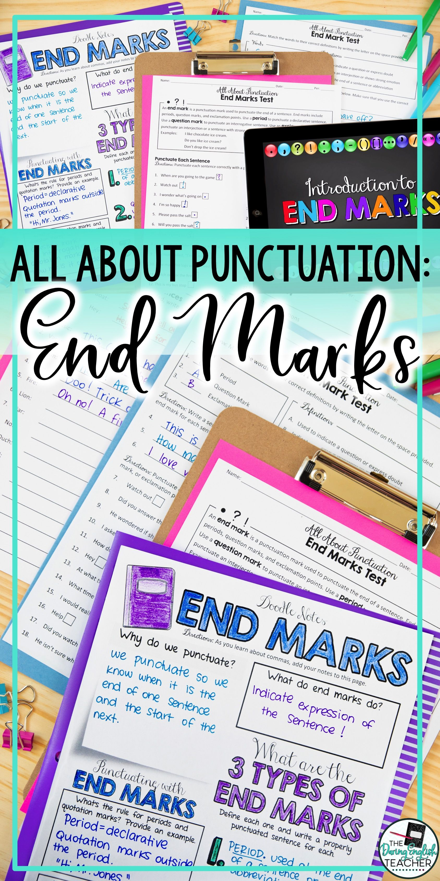 Punctuation Teaching Unit End Marks Period Exclamation