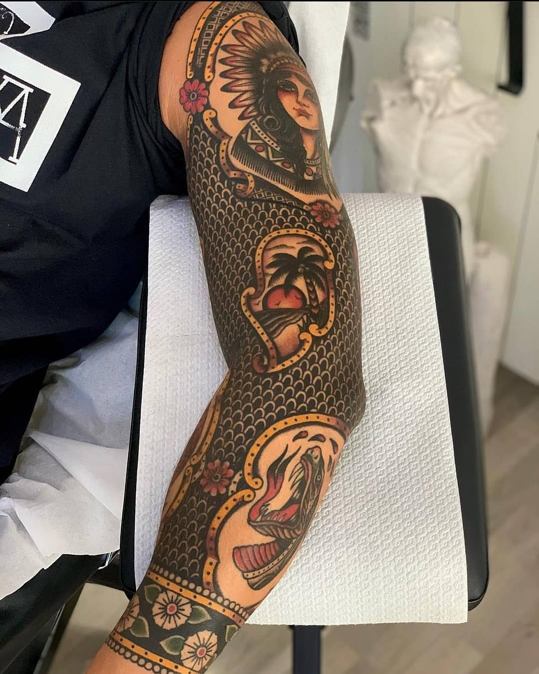 Old School Tattoos On Instagram Rate This Sleeve From 1 To 10 Tag A Friend Wh In 2020 Traditional Tattoo Sleeve Old School Tattoo Designs Traditional Tattoo Man
