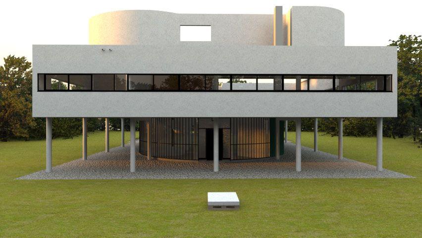Villa Savoye Front Elevation : Villa savoye poissy france le corbusier