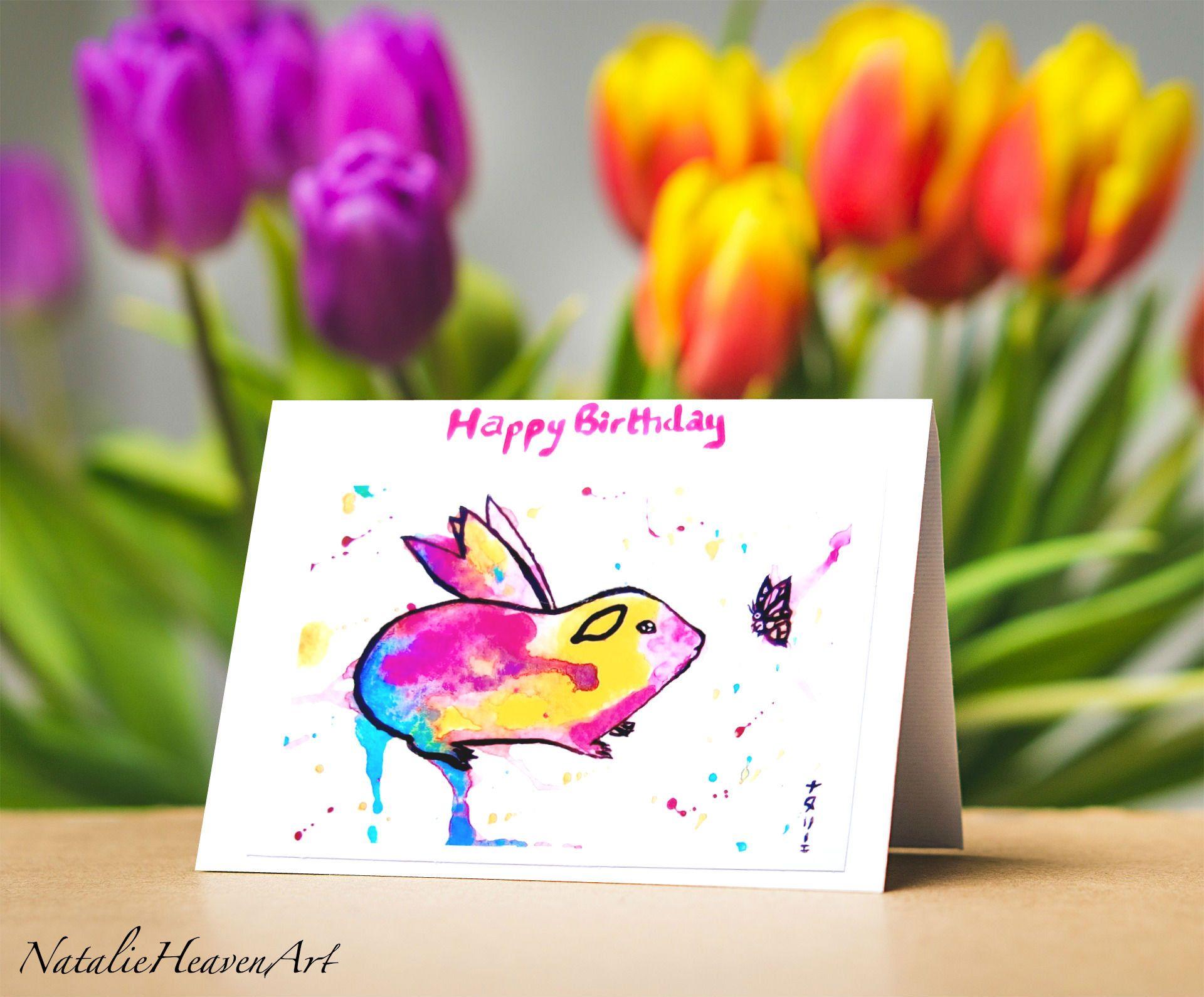Guinea Pig Birthday Card Fairy Happy Birthday Card Animal Greeting