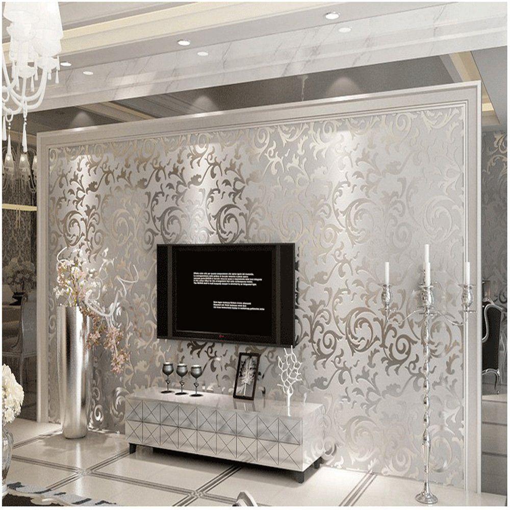 Home Improvement Room Wallpaper Silver Wallpaper Cheap Wallpaper