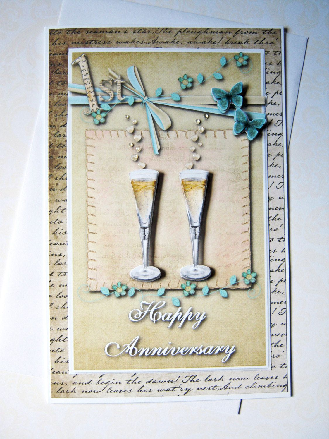 Champagne toast 1st anniversary card, Wedding Anniversary, first ...