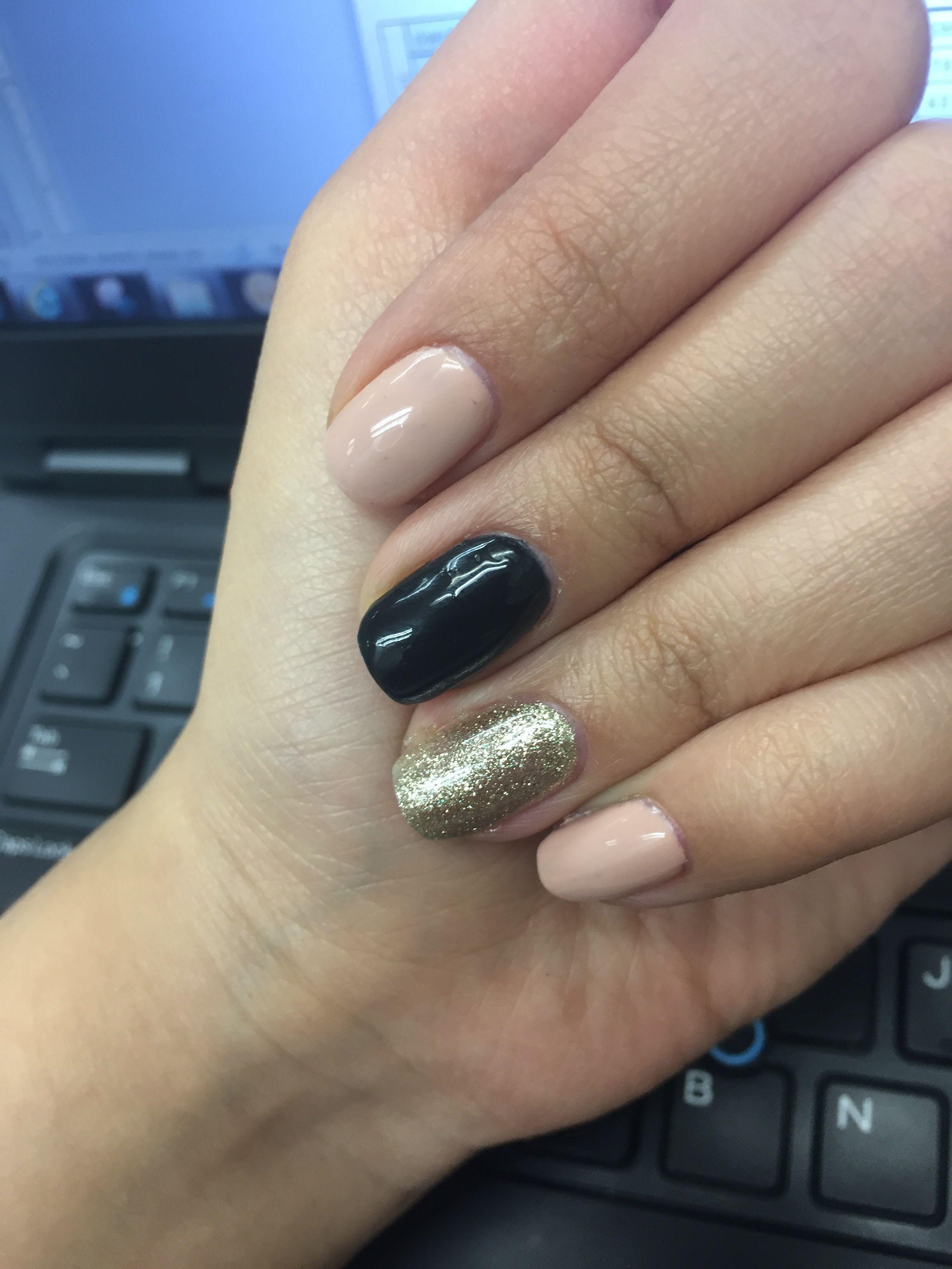 Black nude gold nails | Gelish | Pinterest | Gold nail and Nail nail