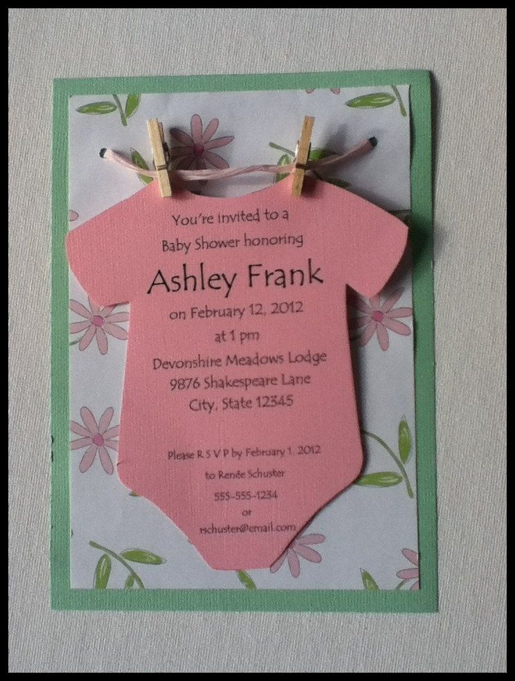 Onesie On A Clothesline Baby Shower Invitation Neutral Boy Handmade 5 00 Via Etsy