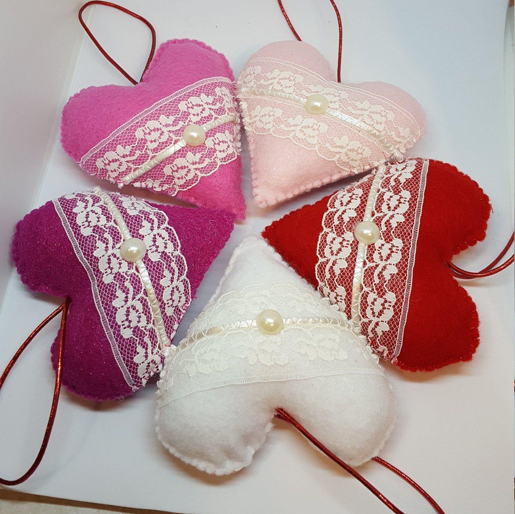 Felt Heart Ornaments Etsy Handmade Felt Ornament Felt Ornaments Heart Ornament