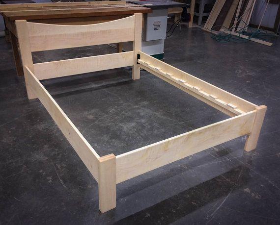 OAK OR ASH Simple Platform Bed Frame with Curved Headboard, Custom ...