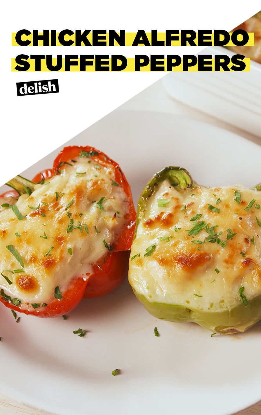 Indulge In These Rich Chicken Alfredo Stuffed Peppers Recipe Stuffed Peppers Chicken Alfredo Recipes Chicken Alfredo