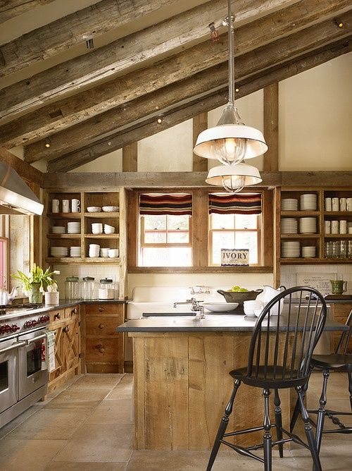 Old Barn Conversion Kitchen, Wood Beams On Slanted Ceiling, Very Beautiful  Via: 39