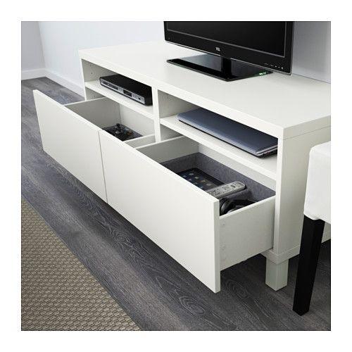 BESTÅ TV unit with drawers - Lappviken white, drawer runner, soft-closing - IKEA