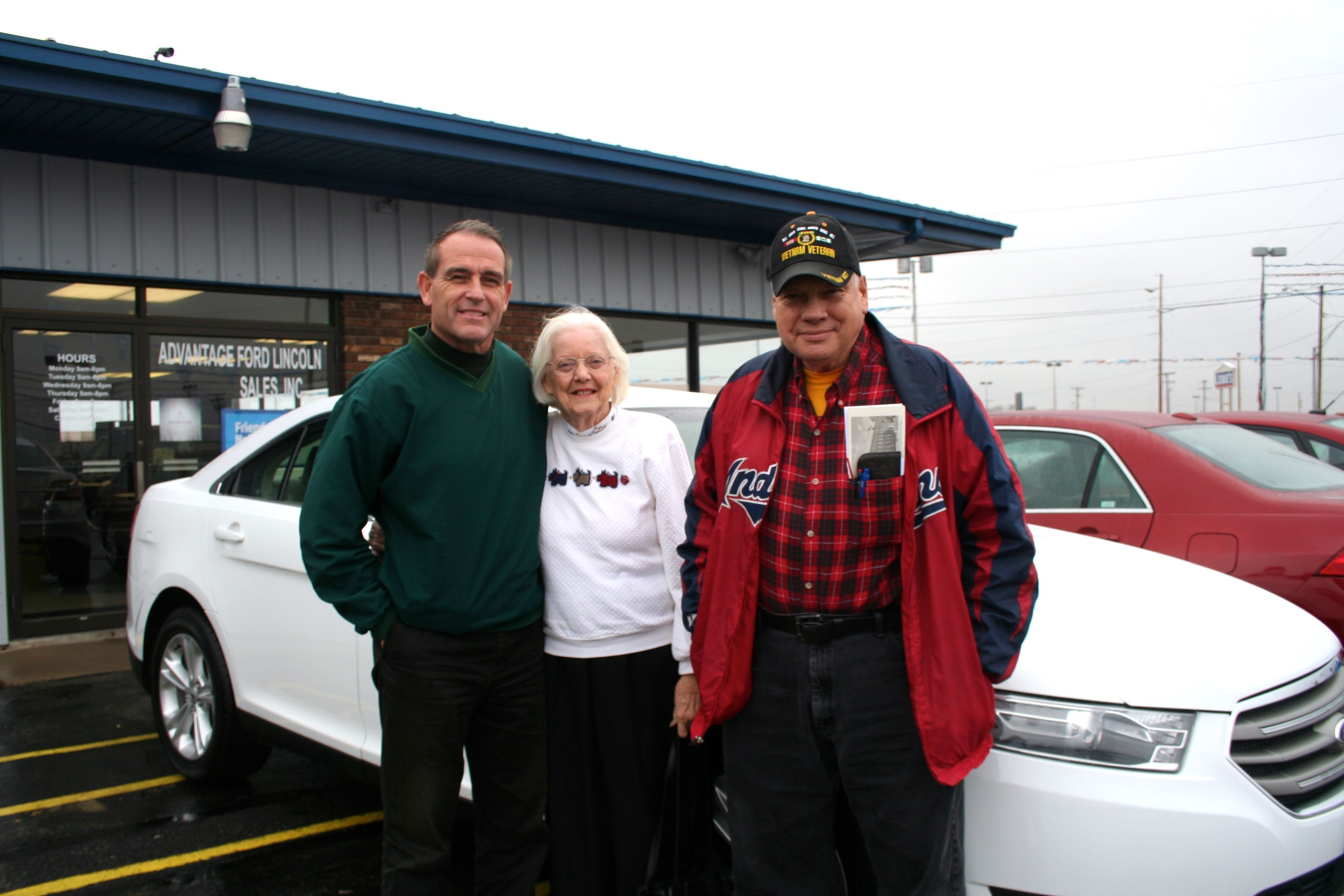 Picture: Pauline (Polly) Keiser and Sam Keiser with Kelly Belcher Congratulations Polly on your 2013 Ford Taurus! Thank you from all of us at Advantage Ford Lincoln