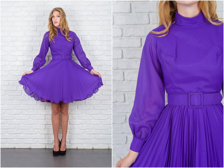 Vintage 60s Purple Mod Dress Full Pleated Long Sleeve High Collar XS ...