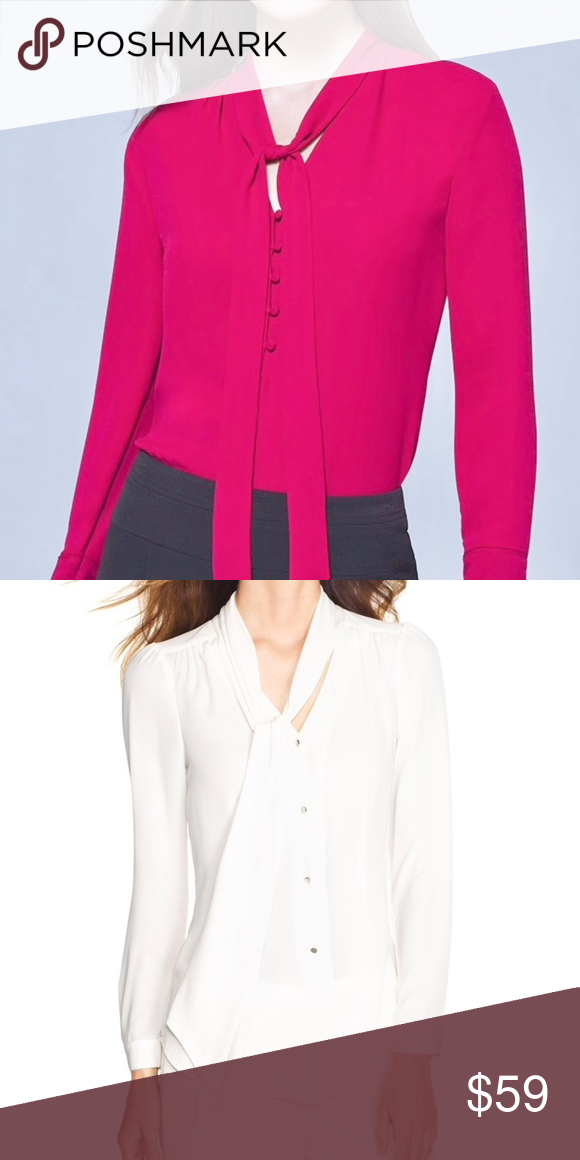 10dff199 White House Black Market Pink Tie Front Blouse Satin Fuchsia Pink Size 2  New with tags