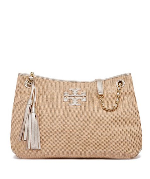 ef2231ff3b4a Tory Burch Thea Straw Center-Zip Tote