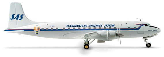 Herpa 1 200 Sas Scandinavian Airlines Dc 6 Old Colors Scandinavian Sas Airlines