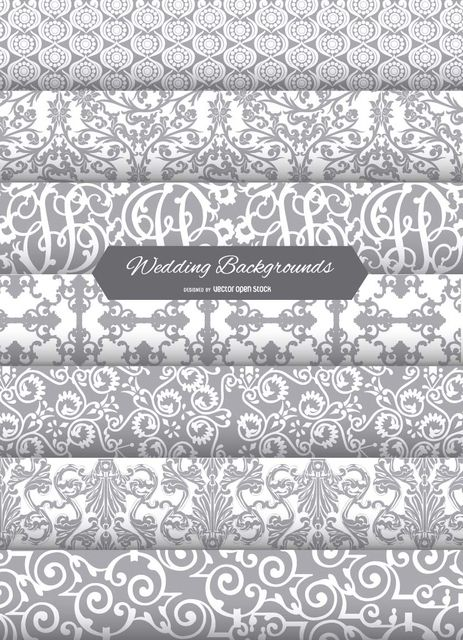 This vector includes 7 cool wedding invitation backgrounds to use - free invitation backgrounds