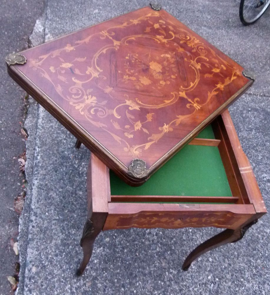 1700s Antique Game Table Folding Inlaid Wood Cards Poker Chippendale Ornate Vtg Antique Table Antique Decor Decor