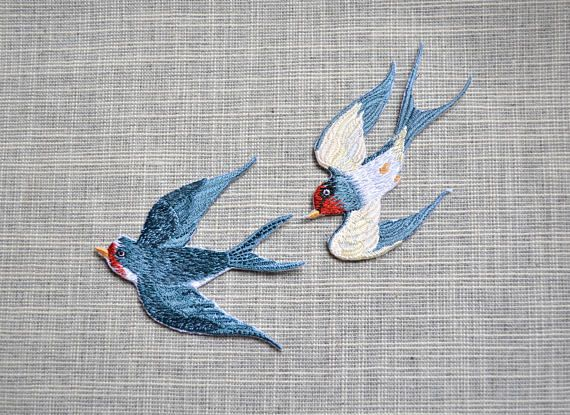 Blue bird patch Iron-on bird patch bird embroidered patch