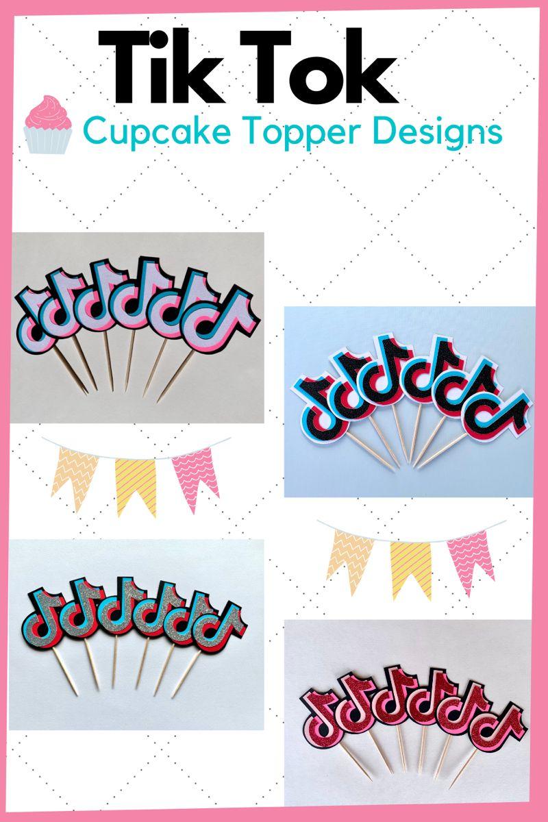 Tik Tok Cupcake Toppers Tiktok Birthday Party Supplies Diy Holiday Party Birthday Party Supplies Cupcake Toppers