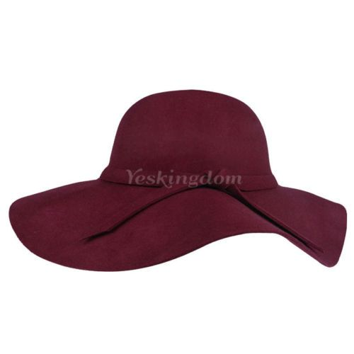 Ladies Women Soft Wool Felt Fedora Floppy Cloche Wide Brim Bowknot Hat Cap | eBay