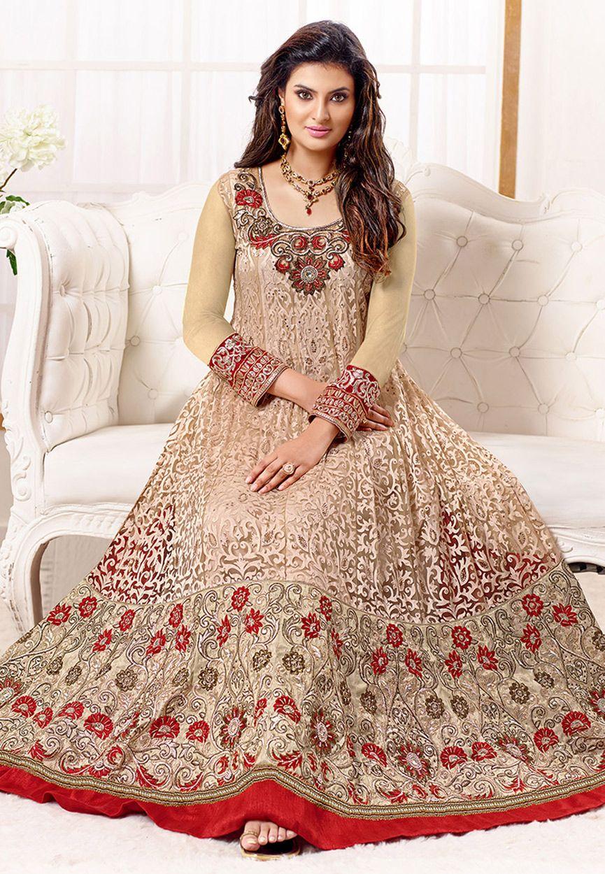 Beige Net Abaya Style Churidar Kameez Online Shopping Kah344 Indian Anarkali Dresses Fashion Gorgeous Dresses