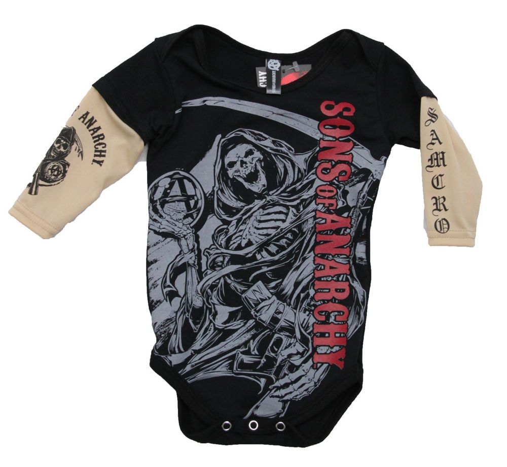 Sons Of Anarchy Red Logo Reaper Tattoo Sleeves Baby One Piece Bodysuit