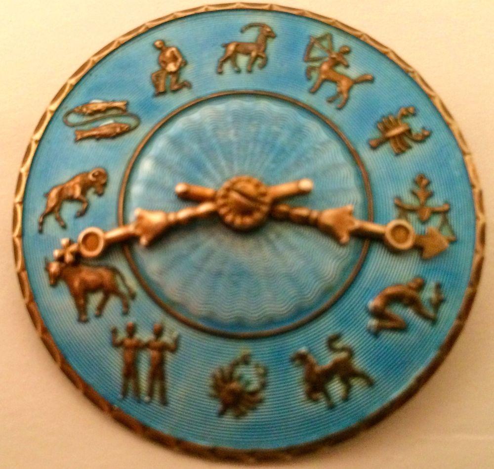 HANS MYHRE AS VERMEIL STERLING SILVER ENAMELED ZODIAC CLOCK BROOCH VERY RARE #HANSMYHREAS