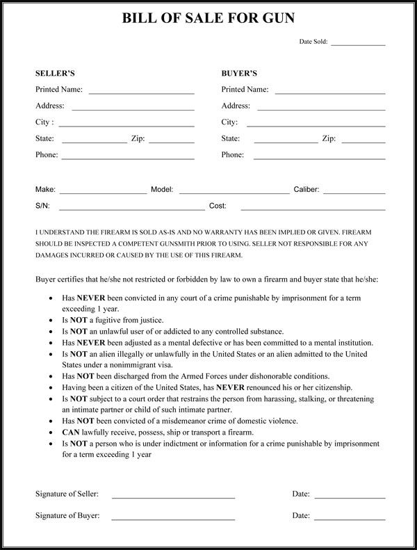 Gun Bill Of Sale Form household Pinterest Guns - auto bill of sale template