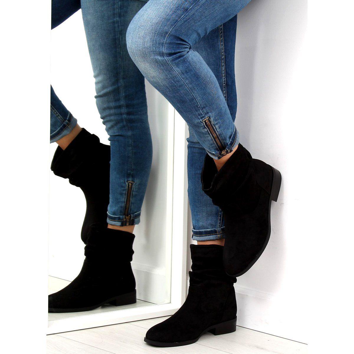 Botki Damskie Butymodne Botki Damskie Saszki Czarne 1126 Pa Black Skinny Jeans Boots Fashion