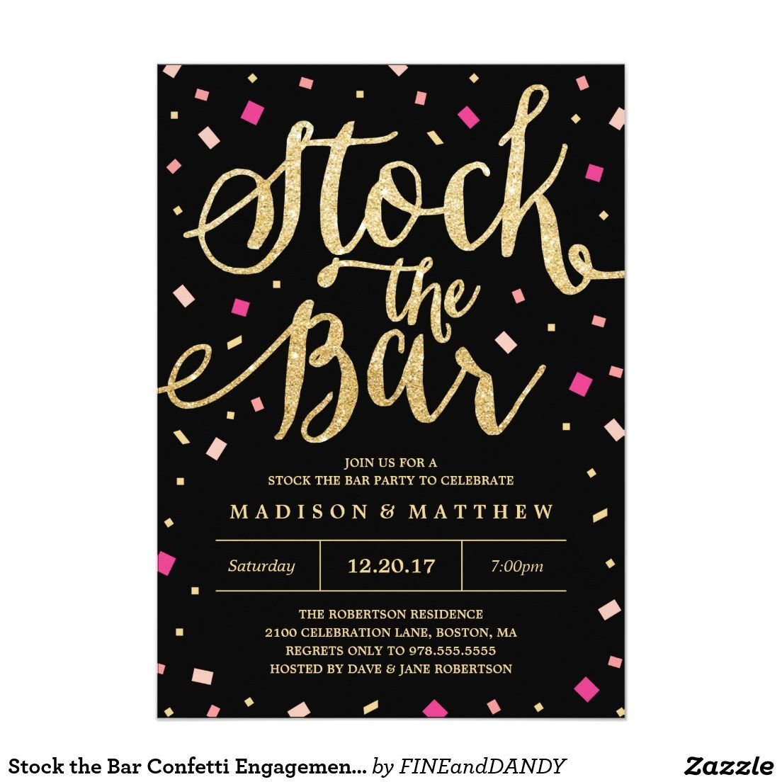 Stock the Bar Confetti Engagement Party Invitation   Engagement ...