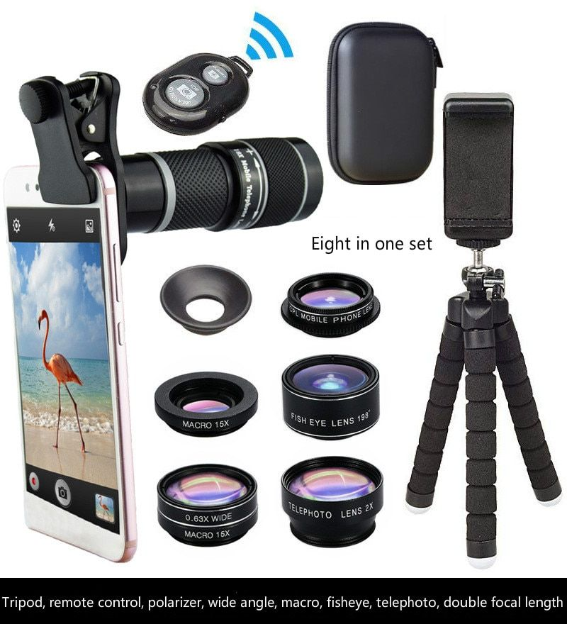 18x Hd Camera Telescope Telephoto Mobile Phone Lens 8 In 1 Set