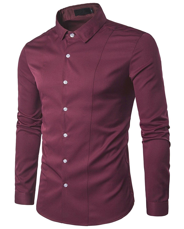 df1bdc99ae74e3 Men's Clothing, Shirts, Casual Button-Down Shirts, Casual Slim Fit Business  Dress Shirt Solid Long Sleeve Shirt - Burgundy - C8188KS8LHY #style  #fashion ...