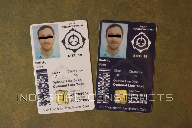 Scp Foundation Id Card Cac Style Customized With Your Etsy Scp Foundation Cards