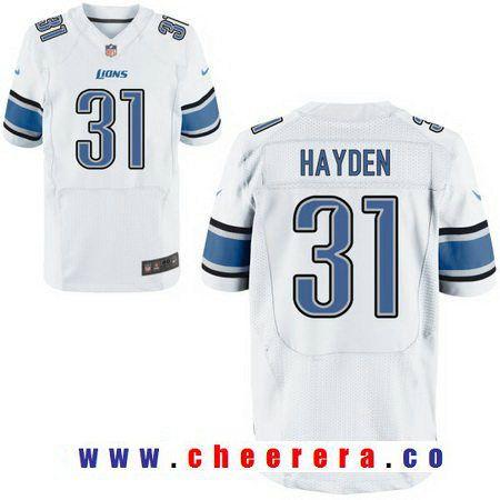70bb7b47243 Men s Detroit Lions  31 D. J. Hayden White Road Stitched NFL Nike Elite  Jersey