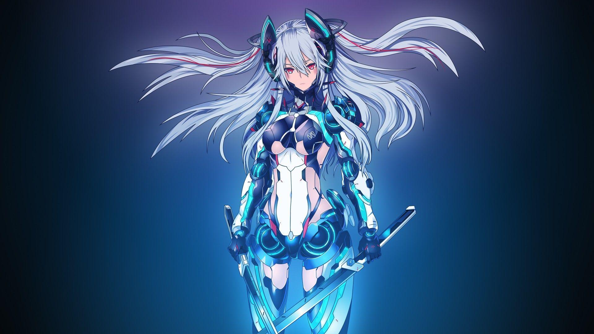 Mecha Girl, 4K Cute anime wallpaper, Anime wallpaper