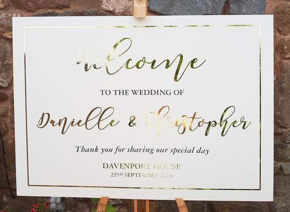 A1 Personalised Gold Foil Wedding Welcome Sign, Wedding Welcome Sign, Welcome Sign, Gold Welcome Sign #weddingwelcomesign