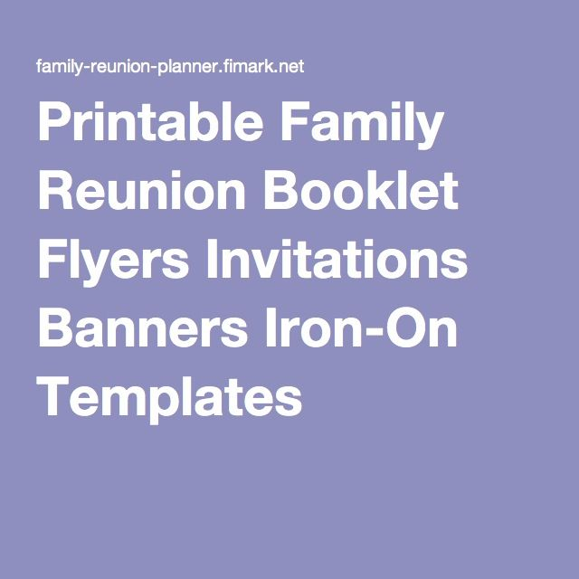 Printable Family Reunion Booklet Flyers Invitations Banners Iron On  Templates More