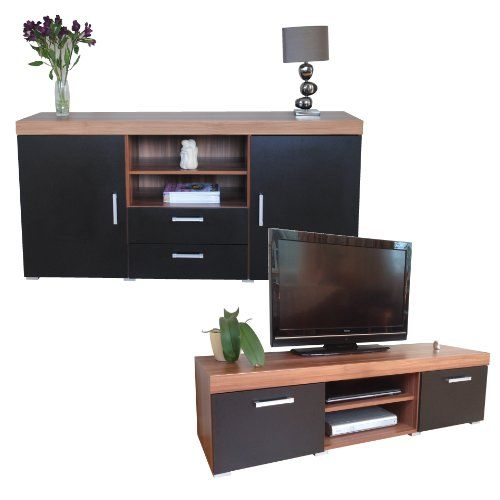 Black U0026 Walnut Sydney Large Sideboard U0026 TV Cabinet 140cm Unit Living Room  Furniture Set
