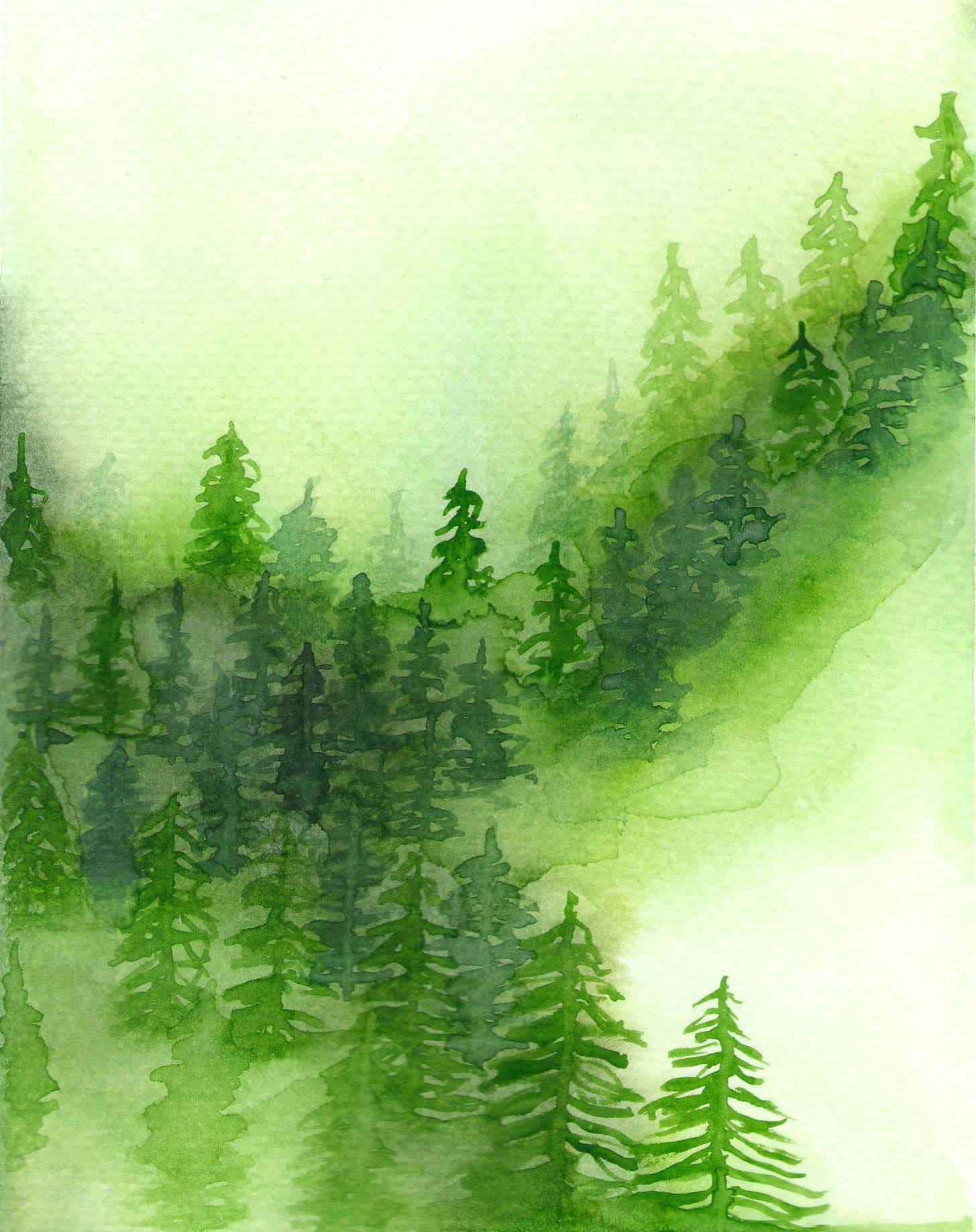 Watercolor Forest Pinterest Inspired Green Watercolor Trees