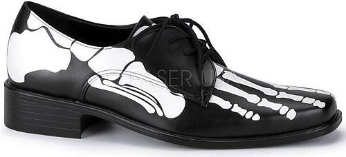 Pleaser Funtasma X-Ray 01 Black Halloween Spooky Skeleton Feet Ballet Flat Pumps