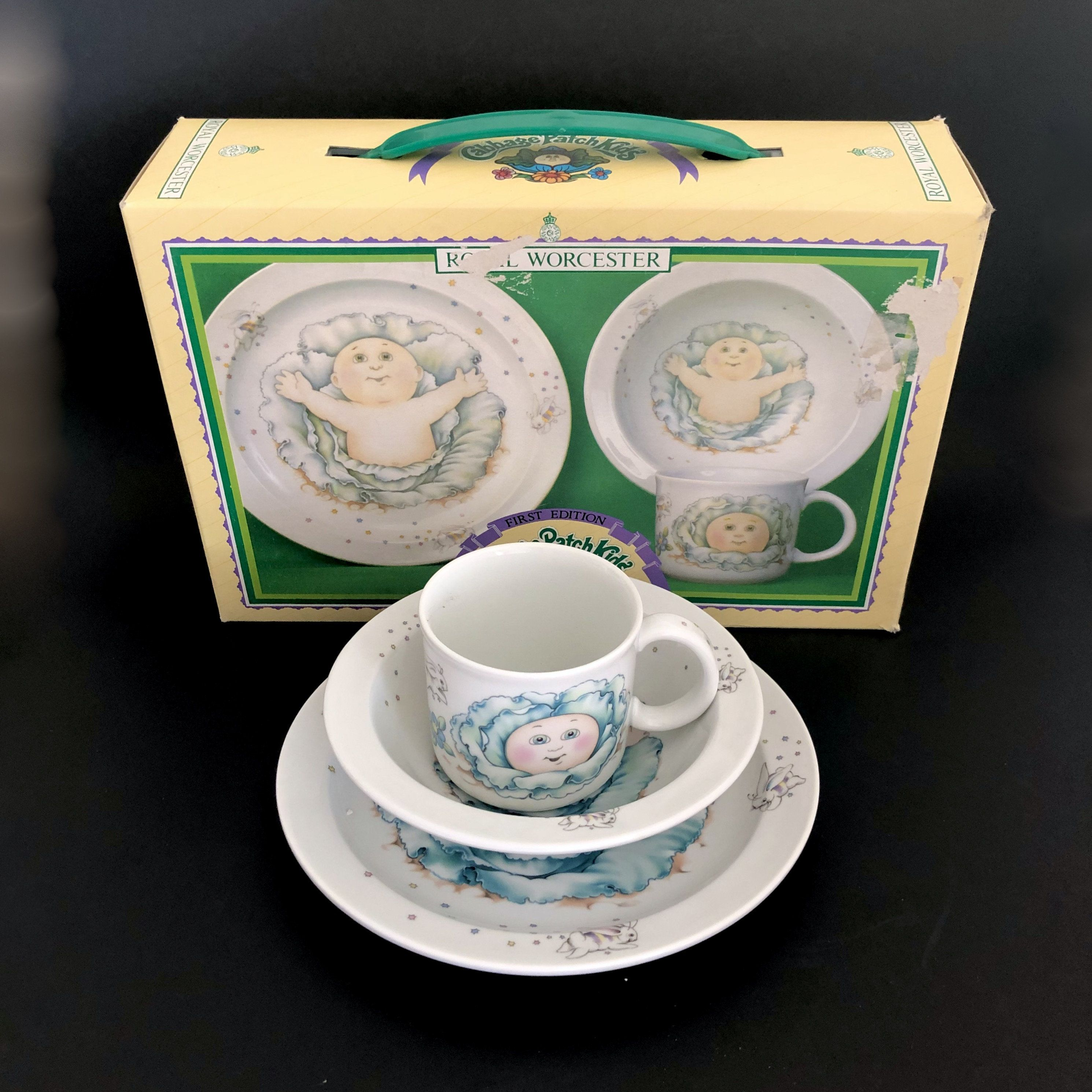 Royal Worcester Cabbage Patch Kids 3 Piece Dish Set 1984 First Edition Made In England Childhood Memo Childrens Gifts Irish Wall Decor Cabbage Patch Kids