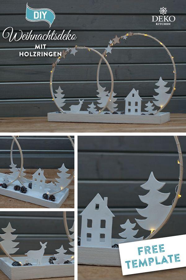 DIY: stimmungsvolle Weihnachtsdeko mit Holzringen